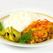 Fired meat, white rice and vegetables — Stock Photo #6621205