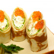 Maki Sushi - Roll made of Smoked Chicken Breast, Cheese, Cucumbe - Stock Photo