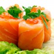 roll with salmon and red caviar — Stock Photo