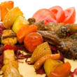 Plate BBQ meat and vegetables — Stock Photo #6624980