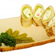 Maki Sushi - Roll made of Smoked Chicken Breast, Cheese, Cucumbe — Stock Photo