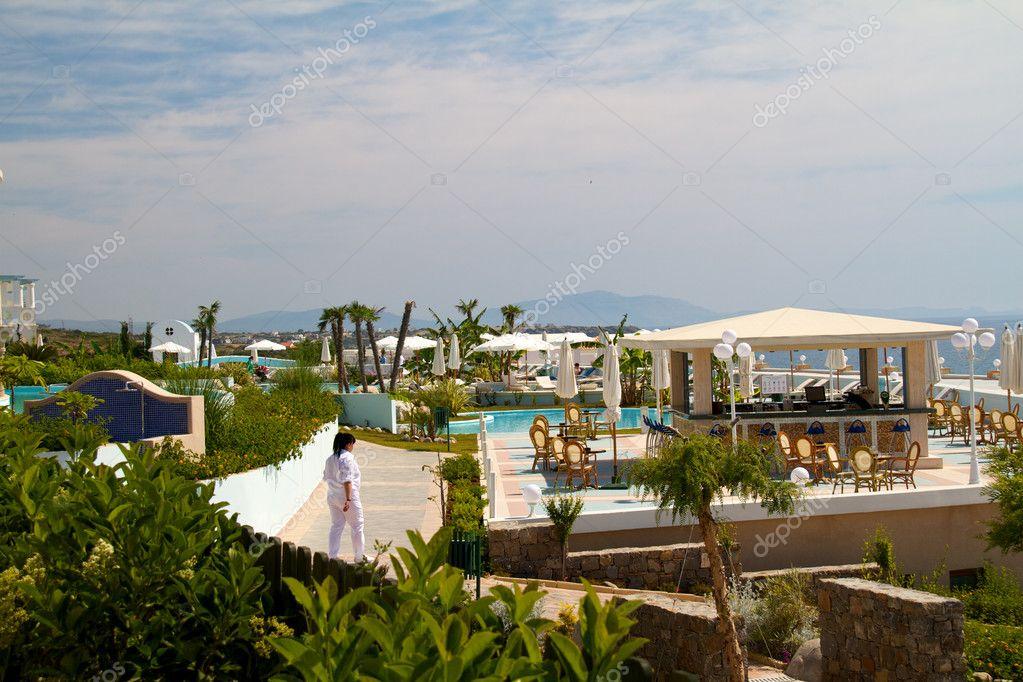 Wundersch nes hotel am meer in griechenland stockfoto for Boutique hotel am meer