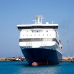 Ferry ship in harbor — Stock Photo