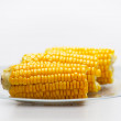 Corn Cobs on a glass plate. Small DOF — Stock Photo