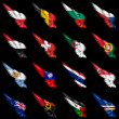 Stock Photo: Set of european, africand americflags on wings