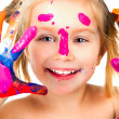 Little girl with paint — Stock Photo