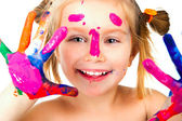 Little girl with paint — Stok fotoğraf