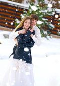 Pareja feliz en el día de boda — Foto de Stock