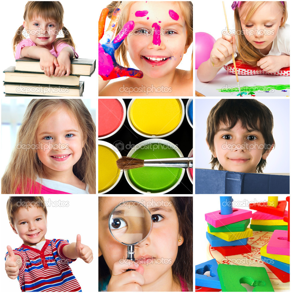 Education concept. Group of a carefree children — Stock Photo #5590085