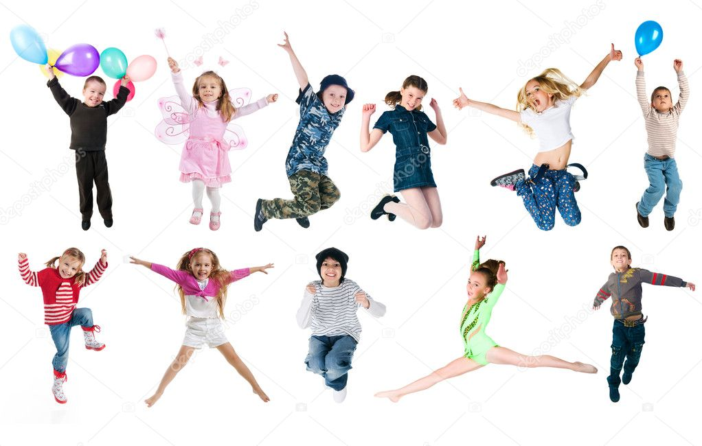 Collection photos of jumping kids. Studio shot — Stock Photo #5650914