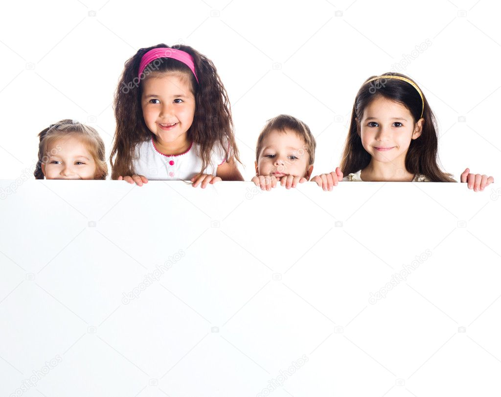 Grouop of smily kids over white background — Stock Photo #5681905