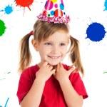 Little girl in birthday cap — Stock Photo