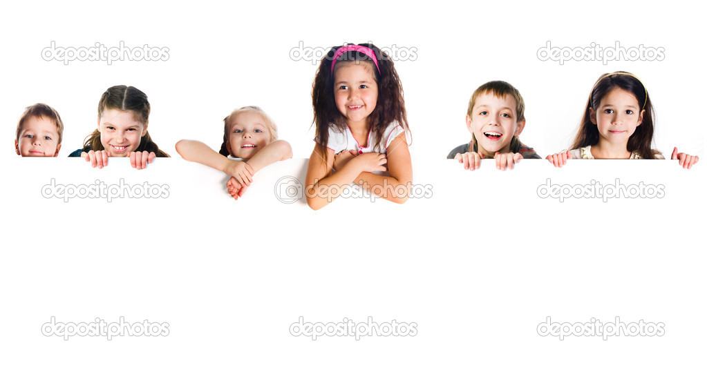 Grouop of smily kids over white background — Stock Photo #5735345