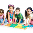 Children are playing letters — Stok fotoğraf #5855775