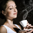 Woman with an coffee — Stock Photo