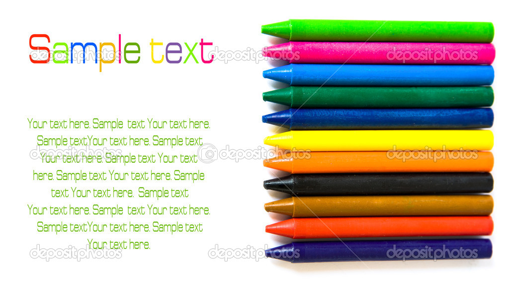 Wax color crayons isolated over white backgrond  Stock Photo #5931866