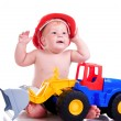 Royalty-Free Stock Photo: Little boy  with a big car