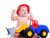 Little boy with a big car — Stock Photo
