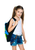 Cute schoolchild with knapsack — Stock Photo