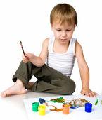 Niño de 3 años cubierto de pintura brillante — Foto de Stock