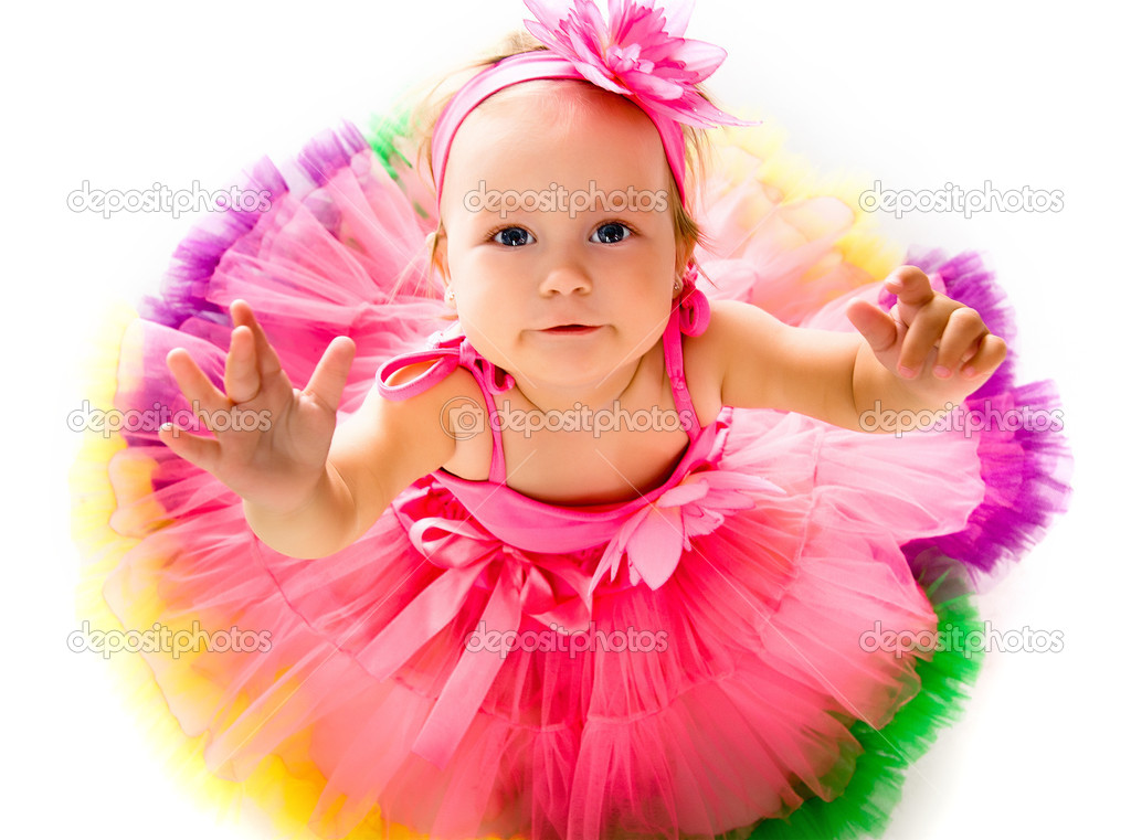 Little girl in fairy costuLittle girl in fairy costume on white backgroundme — Stock Photo #6406557