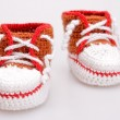 Crocheted booties for a boy — Stock Photo