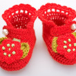 Crocheted booties for a girl — Stock Photo