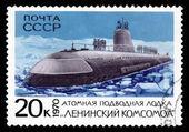 Sssr poštovní známce ukazuje atomová ponorka — Stock fotografie