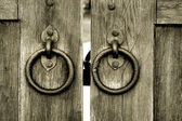 Ancient wooden gate with door knocker rings — Stock Photo
