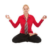 Practicing Yoga. Young businesswoman — Stock Photo