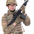 Stock Photo: Modern soldier with rifle