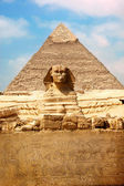 Sphinx et la grande pyramide — Photo