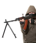 Terrorist with weapon — Stock Photo