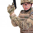 Modern soldier with rifle — Stock Photo #6147842