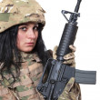 Beautiful army girl with rifle — Stock Photo