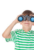 Boy holding binoculars — Stock Photo