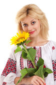 Woman wears Ukrainian dress is holding a sunflower — Stock Photo