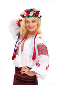 Woman wears Ukrainian national dress — Stock Photo