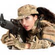 Beautiful army girl with rifle is aiming — Stock Photo