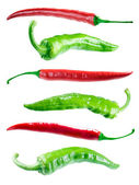 Red and green hot peppers. — Stock Photo