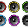 Royalty-Free Stock Vector Image: Variegated colorful speakers set.