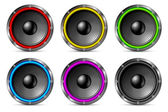 Variegated colorful speakers set. — Stock Vector
