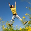 Stock Photo: Jumping happy girl