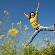 Jumping happy girl — Stock Photo