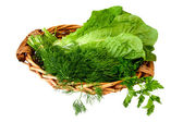 Greens, vegetables in basket — Stock Photo