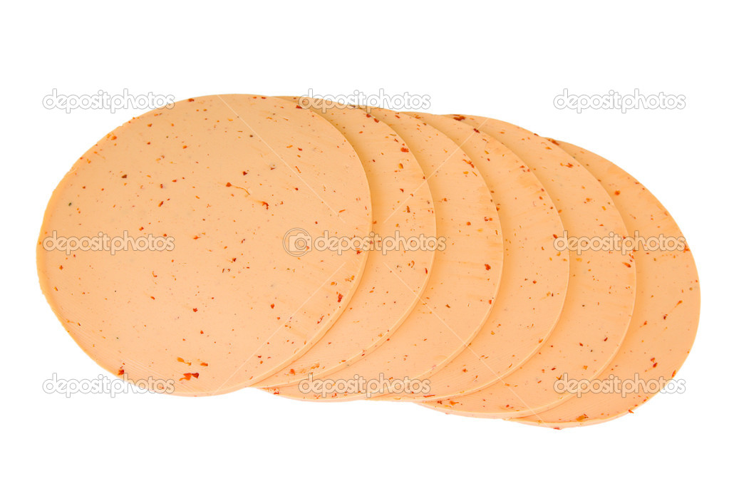 Spicy cheese with paprika and chili isolated on white background — Stock Photo #6648230