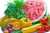 Colorful fresh group of vegetables and fruits — Photo