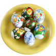 Stock Photo: Easter eggs on plate
