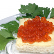 Sandwich with butter and caviar - Stock Photo