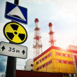 Nuclear Power Plant with Radioactivity Sign - Photo